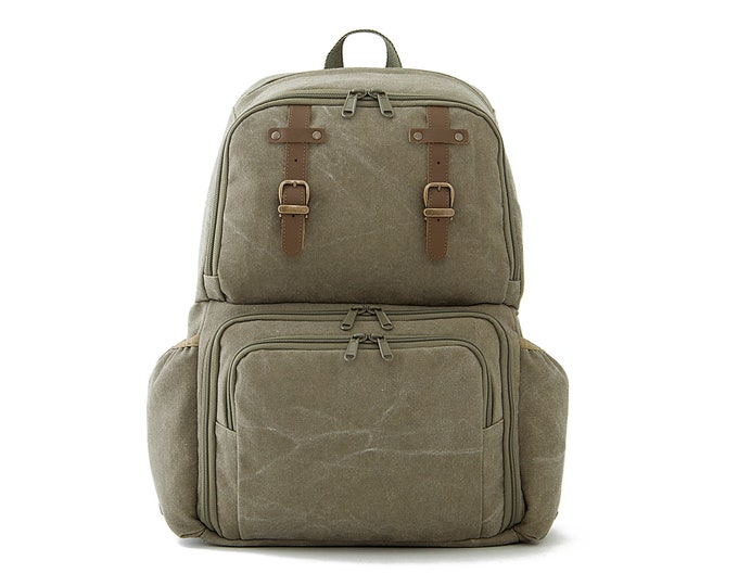 FIT / Unisex Diapers Bag Backpack / School + Travel Backpack / Green Canvas
