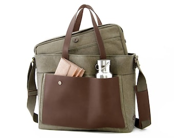 """LOFT / Diaper Tote Bag / 13"""" Laptop + School Bag / Green Canvas"""