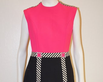 648b661203aac 60s Mod PIERRE CARDIN Space Age Dress / 1960s Designer Vintage Pierre Cardin  Wool Shift Dress Neon Pink and Black Graphic Stripe