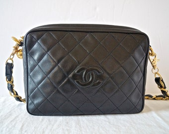 9f345ad5e836 Vintage Chanel CC Black Quilted Leather Camera Bag   90s Chanel Lambskin  Leather Crossbody Camera Handbag with CC Logo