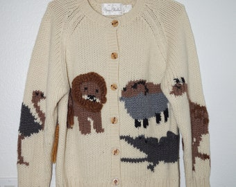 Fringed Collar RamieCotton Baby Elephant Giraffe Much Fun Knitted Cardigan see details So Vintage Sweater Large