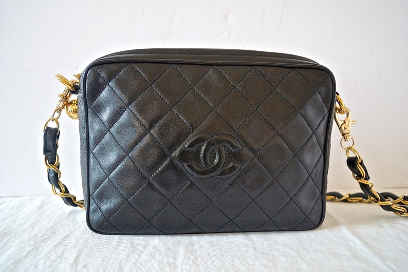 96975d7bd796fe Vintage Chanel CC Black Quilted Leather Camera Bag / 90s | Etsy