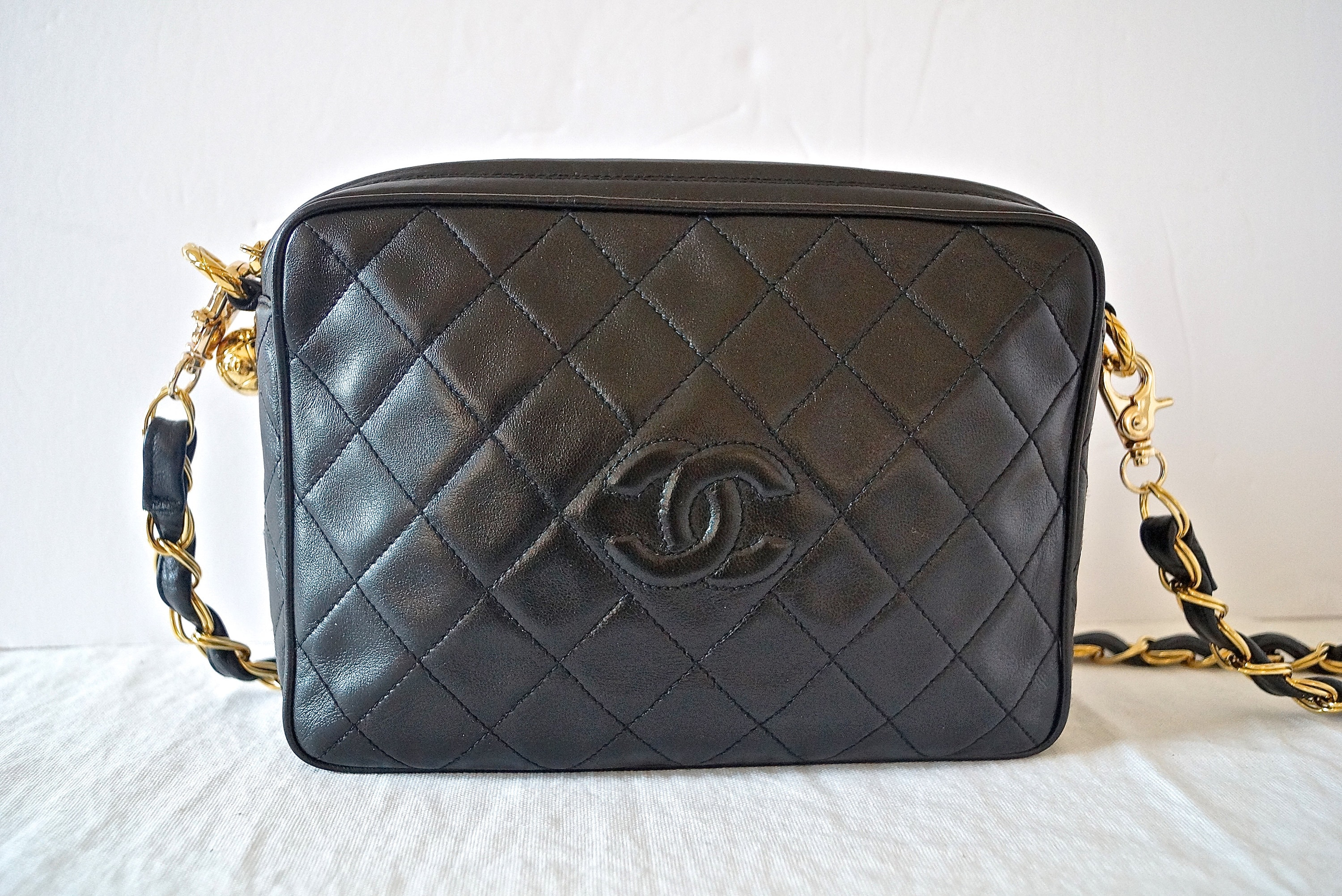8f330710b507 Vintage Chanel CC Black Quilted Leather Camera Bag   90s