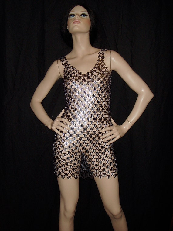 1980s Agnes Citro for PACO RABANNE Chain Mail Dres
