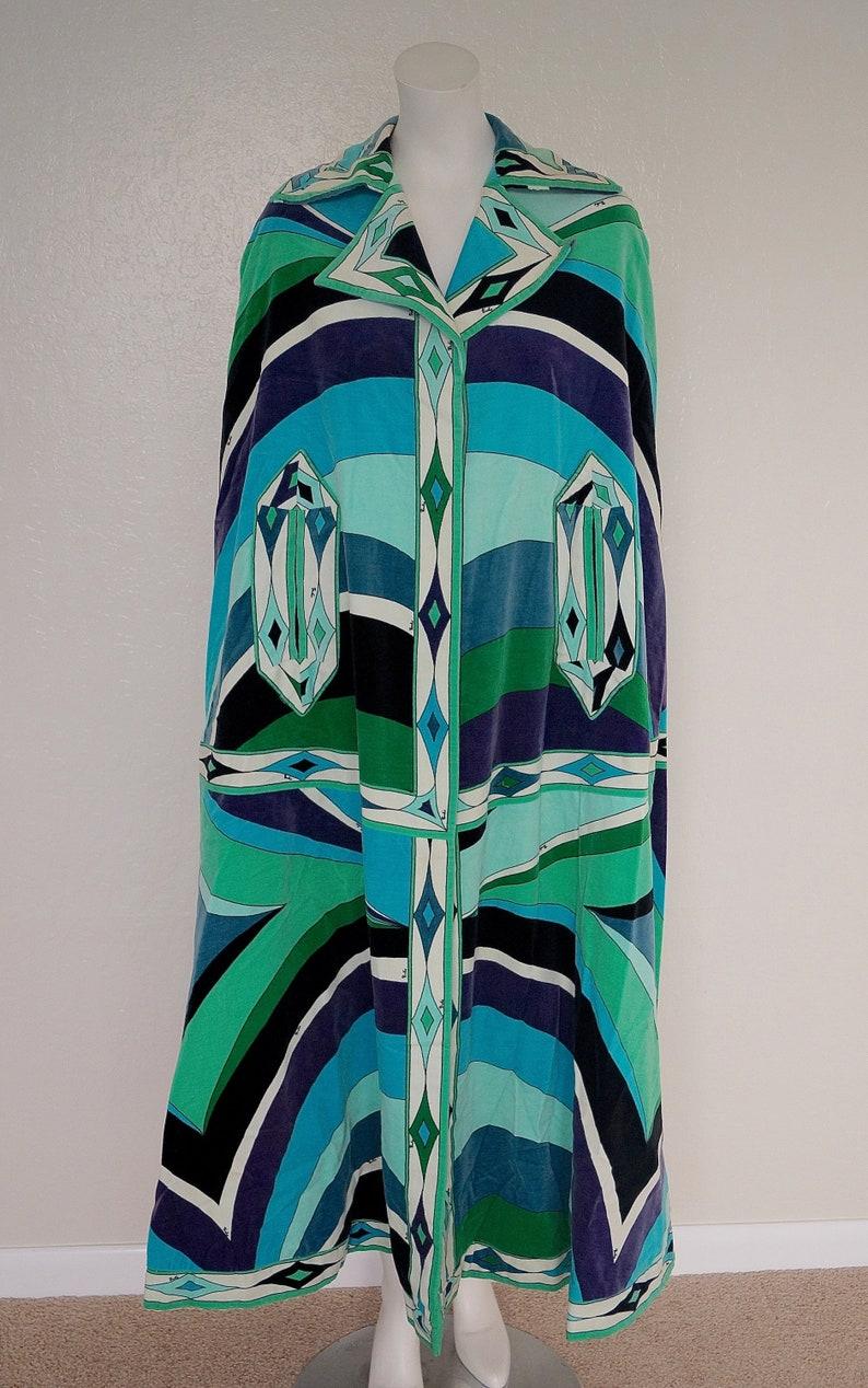 best loved 0daef 50d98 Rare Emilio Pucci Velvet A-Line Cape / Designer Vintage 1960s 1970s Emilio  Pucci Geometric Print Full Length Maxi Velvet Cloak Coat Cape S M