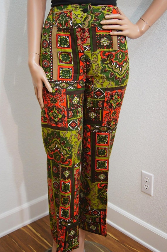 133b10ff1ba88 60s Psychedelic Pants / Multi Colored Psychedelic Paisley Hip | Etsy