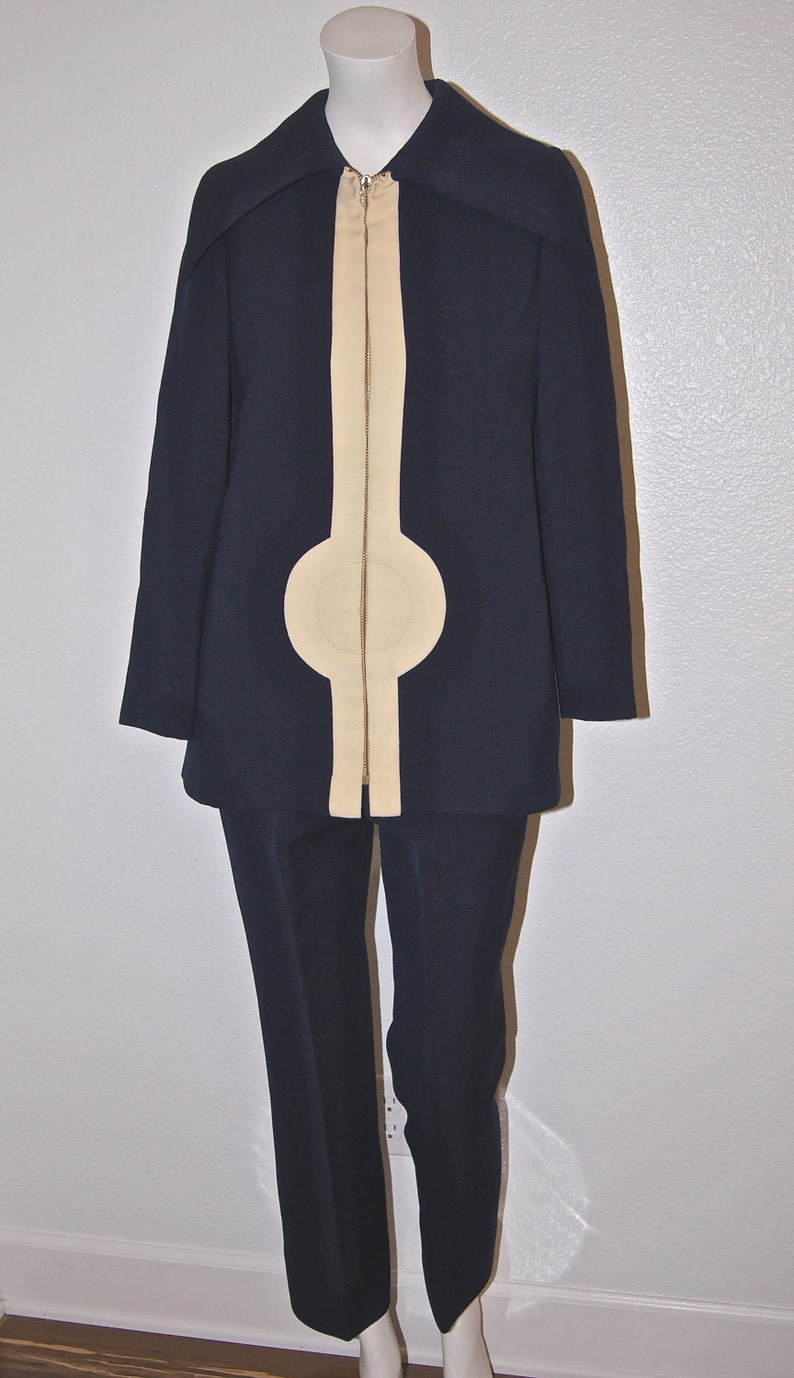 2bbcd3c76e6 60s Mod Pierre Cardin Space Age Jacket and Pants   Navy and