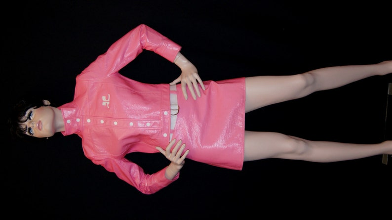 6013f1ac7 Courreges Space Age Mod Pink Vinyl Cropped Jacket and Mini Skirt / Vintage  Courreges Paris Cropped Bomber Jacket and Matching Skirt