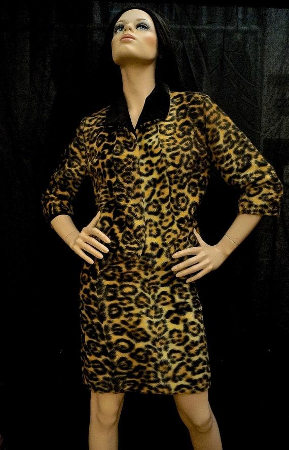 60s Leopard Print Faux Fur Crop Jacket and Skirt S