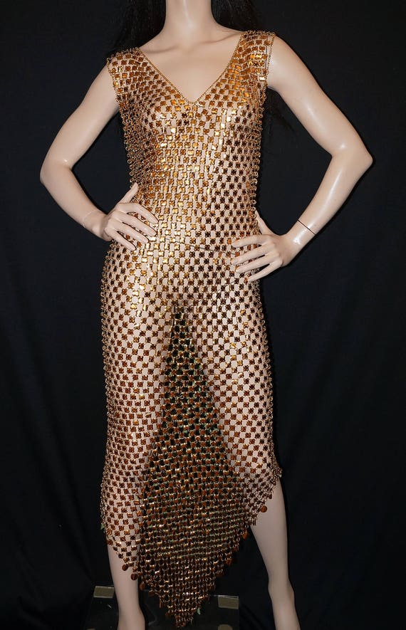 1970s Paco Rabanne Chain Mail Dress Rare Space Age Vintage Paco Rabanne Gold Green Metal Disc Dress 70s Chainmail Designer Evening Dress