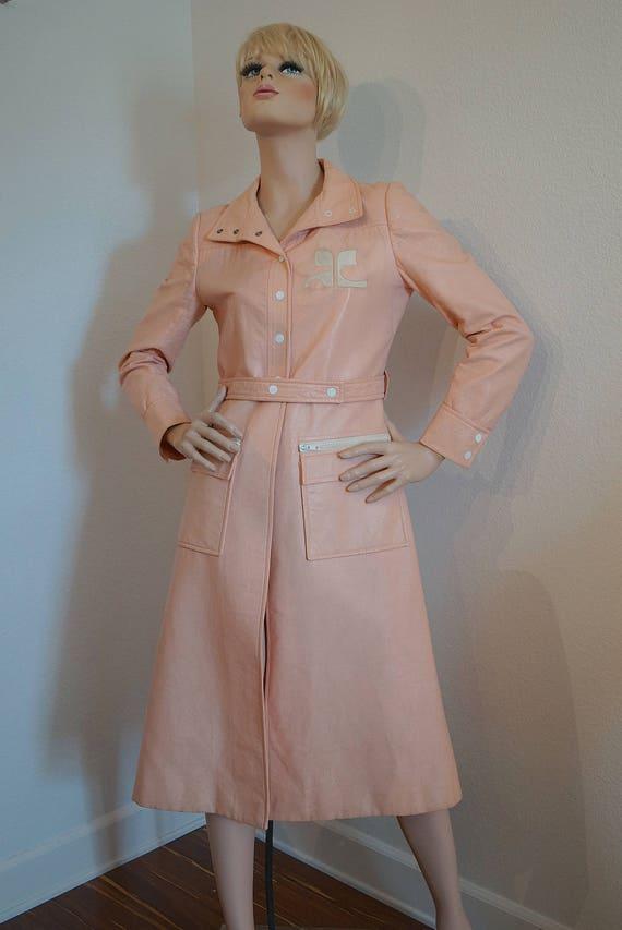 Courreges Space Age Mod Pink Vinyl Coat / Vintage