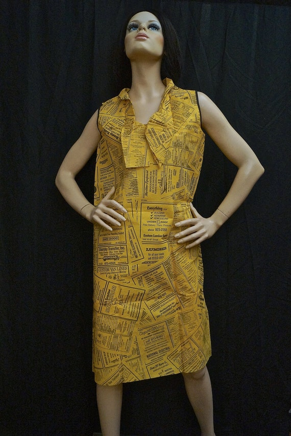 60s Paper Dress / 1960s Yellow Pages Paper Dress /