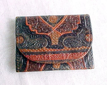 Vintage Moroccan Leather Folding Case - Small Card Holder - Moiré Fabric Lined - Multi color Tooled Leather - Exotic Wallet - Etui