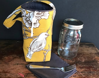 Bird print Mason Jar Salad Set, quart size jar carrier bag with napkin, shopping tote, cozy