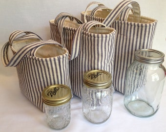 Zero Waste Custom 2 Jar Lunch Bag, Jars to Go ticking stripe mason jar lunch tote bag carrier