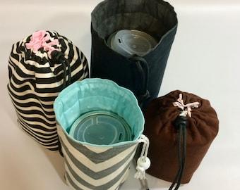 Mason Jar Quart bag, Custom Jars to Go Single zero waste lunch or shopping tote carrier bag