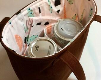 Custom 2-Jar bag, Quart Jars to Go Bag zero waste lunch or shopping tote carrier bag