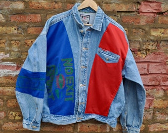 5e78a65b6 Vintage 90s Hipster Denim Jean Jacket | Unique Jersey Mesh In-Lays | Fresh  Prince Aesthetic | NO EXIT! | Dope Retro Throwback