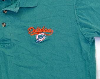 b688a7a76 1 DOLLAR DEAL Vintage 90s Miami Dolphins Polo Shirt