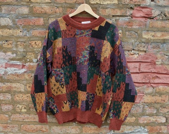 e86eb85fbe Vintage 90s Psychedelic Hipster Sweater