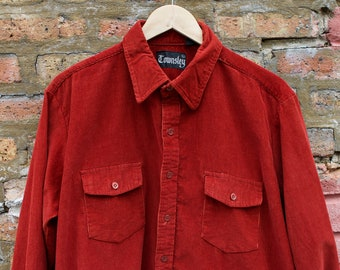 4c3e76bc Vintage 80s Corduroy Long Sleeve Button Down | 70s Dad Minimalist Hipster  Work Shirt | TOWNSLEY Rust Red Grandpa Collared Oxford Shirt