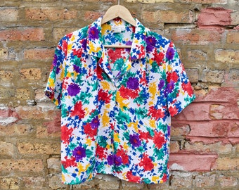 ca487dfb904 Vintage 80s Floral Rainbow Top