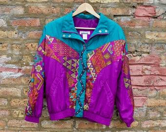 6a18d8a2 Vintage 90s Geometric Colorblock Track Suit | LAVON Workout Warm-Up  Windbreaker Ski Suit | Funky Purple Teal Streetwear Jogging Wear
