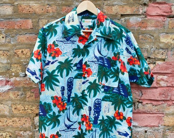 5137deca Vintage 80s Hawaiian Shirt | Floral Palm Tree Blue Green Button Up Collared  Oxford | Hipster Festival Shirt | Waikiki Traditional Lei Luau