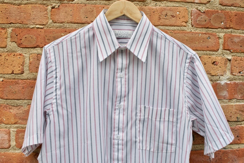 51727e61 Vintage 80s Striped Minimalist Short Sleeve Oxford Grandpa | Etsy