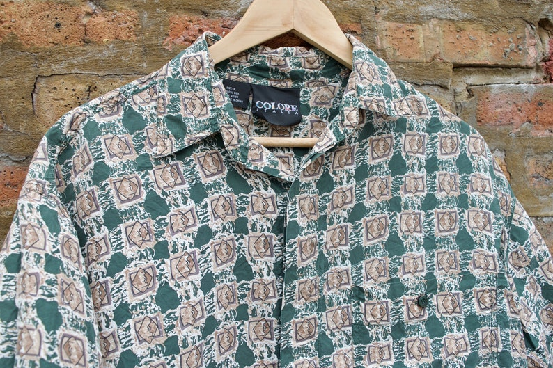 1ef2352a FIVE DOLLAR DEAL Vtg 90s Geometric Psychedelic Silk Button Up   Etsy