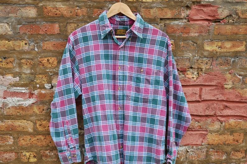 16680dd1 FIVE DOLLAR DEAL Vintage 90s Eddie Bauer Plaid Flannel Shirt   Etsy