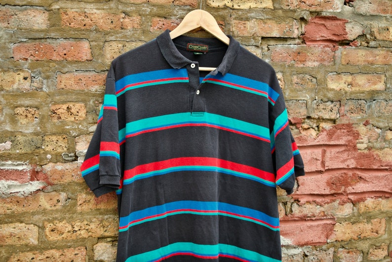 a6255f2c FIVE DOLLAR DEAL Vintage 90s Striped Colorblock Polo Shirt   Etsy