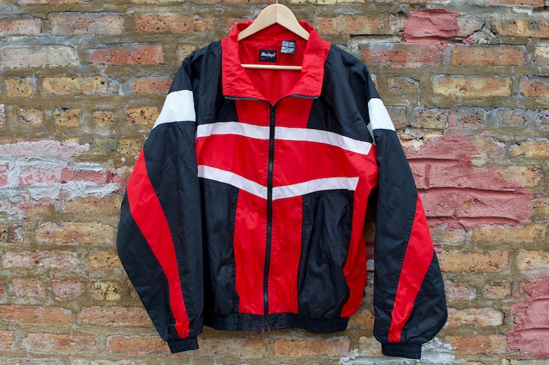 3f5cdb142d47 Vintage 90s Colorblock Hipster Windbreaker Red White Black