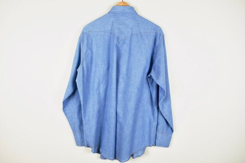 Southwestern Cowboy Snap Button Up Collared Dress Shirt VTG 90s Wrangler Shirt Minimalist Monochromatic Denim Men/'s Light Wash Large Top