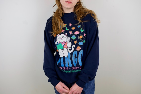 Vintage 90s Virgo Sweatshirt | Cat Astrology Zodia