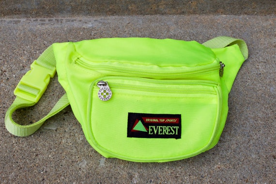 Vintage 90s Neon Fanny Pack | 80s Festival Yellow