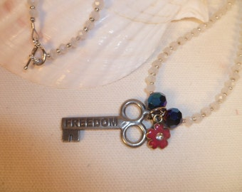Fourth of July Freedom Necklace, Red, White and Blue Necklace, Patriotic Necklace, Summer Necklace, Whimsical and Fun Patriotic Necklace