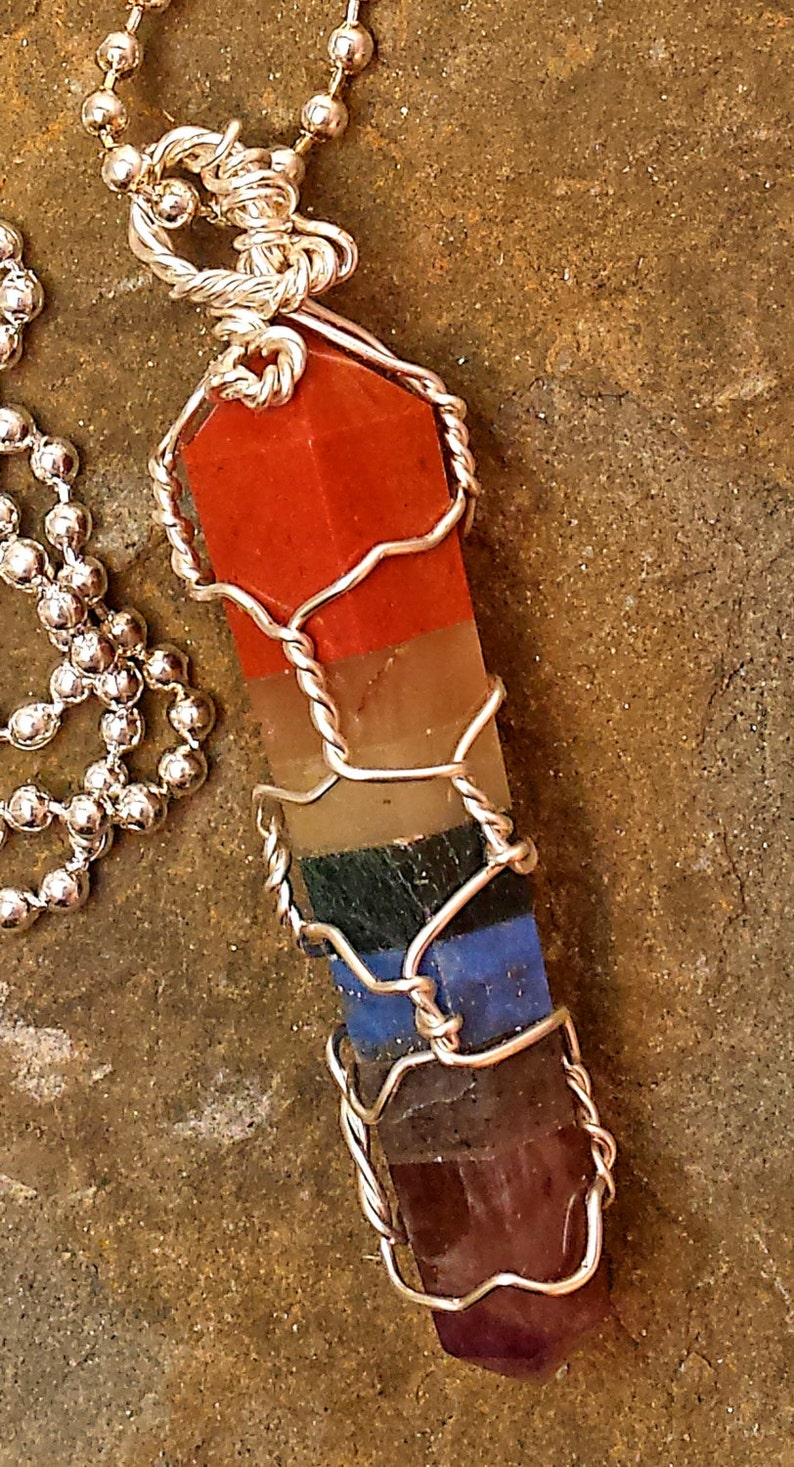 Hand Cut Natural Stone Double Terminated Point 7 Chakra Crystal Healing Grids Wire Wrapped Necklace