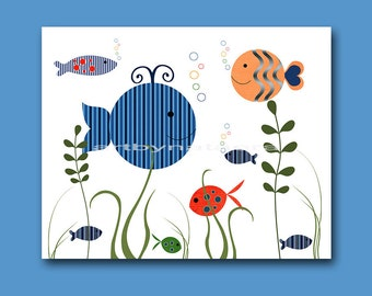 Sea baby boy nursery decor kids art children wall art nursery art print baby boy room Boy Artwork Baby Artwork fish whale green blue