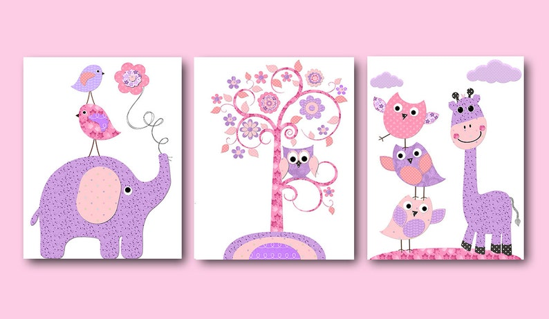 Rosa lila Elefant Kinderzimmer Leinwand Wand Dekor Eule | Etsy