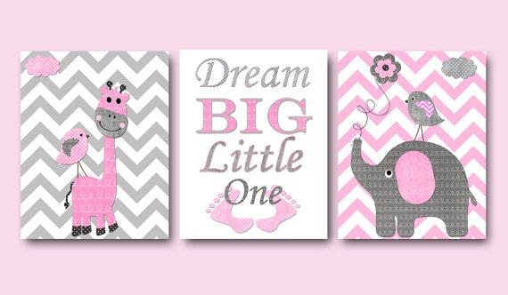 3 Wall Art Nursery Prints Pink And Grey Elephants Dream Big Little One Baby Girl