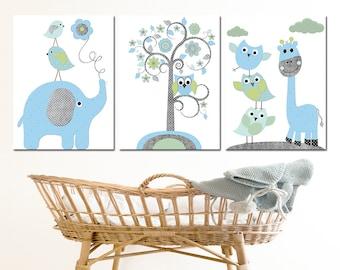 Elephant Nursery Giraffe Nursery, Baby Boy Nursery, Kids Wall Art, Baby Nursery Decor Baby Room Decor Kids Art Boy Print set of 3 Owl Blue