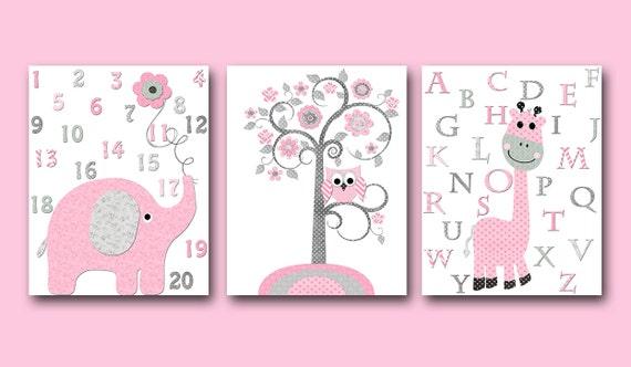 Rosa gris lienzo pared arte alfabeto vivero impresiones bebé