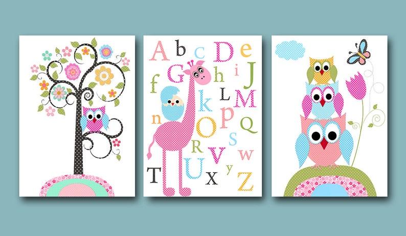 3er Set Eulen Dekor Giraffe Alphabet Kinderzimmer Leinwand Etsy