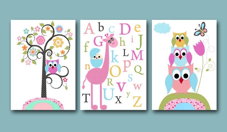 3er Set Eulen Dekor Giraffe Alphabet Kinderzimmer Leinwand Pink Blau Grün  Kinder Kunst Kinder Baby Zimmer Dekor Baby Kinderzimmer Dekor ...