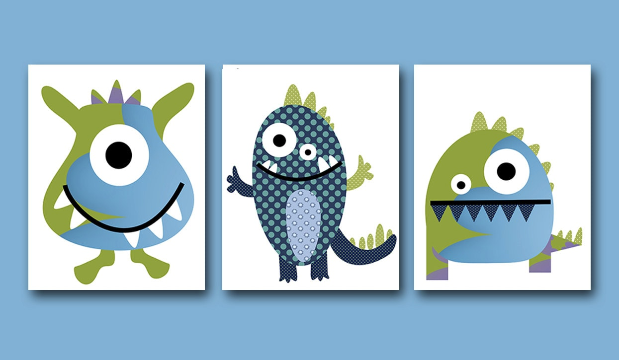 Great Childrens Art Kids Wall Art Baby Boy Room Baby Boy Nursery Baby Nursery  Decor Set Of 3 Monster Nursery Art Green Blue Kid Room