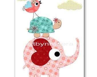 Kids Wall Art Elephant Nursery Baby Girl Nursery Art Kids Art Baby Room Decor Nursery Print Nursery Wall Art Girl Print Rose Turtle