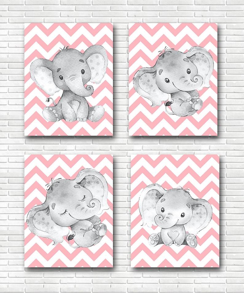 Elephant Wall Decor Canvas Print Stickers Decor Children Art Baby Girl Room Decor poster set canvas set of 4 Pink Gray Elephant Print