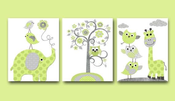 Stickers pour mur gris l phant vert girafe decor toile for Decor traduction