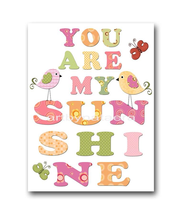 My Baby Girl S Nursery: You Are My Sunshine Baby Girl Nursery Art Print Childrens